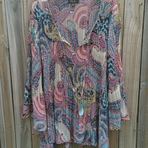 **Melissa paige 3X bell sleeve hippie gypsy tunic*